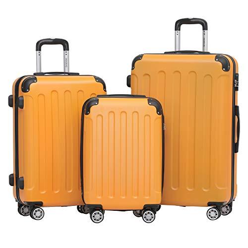 BEIBYE 2045 Zwillingsrollen 3tlg. Reisekoffer Koffer Kofferset Trolleys Hartschale in 14 Farben (Orangen)