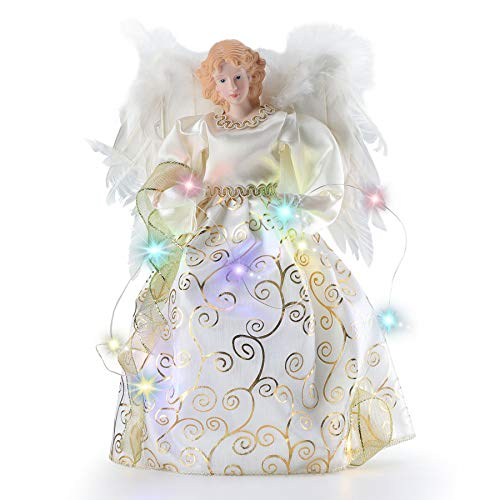 Oubomu Quality Made Angel Christmas Tree Topper, Gold Fiber Optic Angel Tree Topper, LED Lighted Xmas Tree Topper Ornaments Decorations