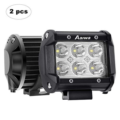 AAIWA Foco LED Tractor,4 Pulgada Focos de Trabajo 12V 24V 2x18W Antiniebla, Luces IP67 Impermeable para Coche,Todoterreno Camion,Tractor,Quad