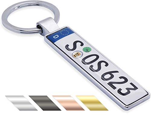 Schlüsselanhänger Mini-Kennzeichen KFZ Auto mit Namen individuell personalisiertes Geschenk für Autoliebhaber Autofans Muttertag