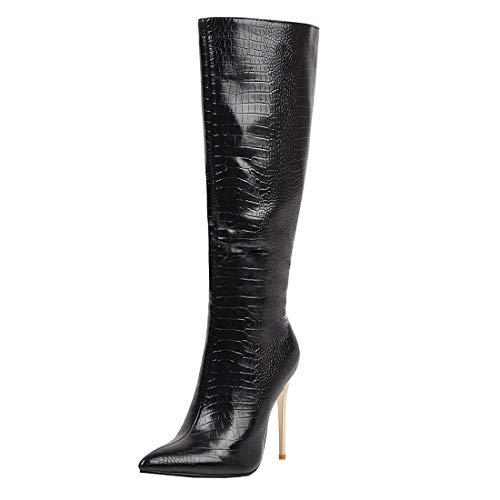 MISSUIT Damen Kniehoch Stiefel Stiletto High Heels Boots Spitz Kniehohe Stiefel mit 10cm Absatz und Reißverschluss Schuhe(Schwarz,46)