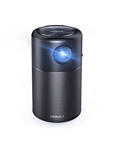 Anker Nebula Capsule, Smart Wi-Fi Mini Projector, Black, 100 ANSI Lumen Portable Projector, 360° Speaker, Movie Projector, 100 Inch Picture, 4-Hour Video Playtime, Neat Projector, Home Entertainment
