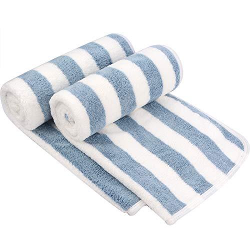 VIVOTE Microfaser Handtücher Stark Wasserabsorbierendes Mikrofaser Handtuch Mikrofaser Badetuch Super Weich Duschtücher Schnelltrocknend & Saugstark 38cm x 76cm 2er Pack Blau