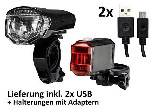 ChiliTec LED Fahrradleuchten Set Frontstrahler Rücklicht USB Akku I StVZO zugelassen I 30 Lux I Stoßfest Wetterfest