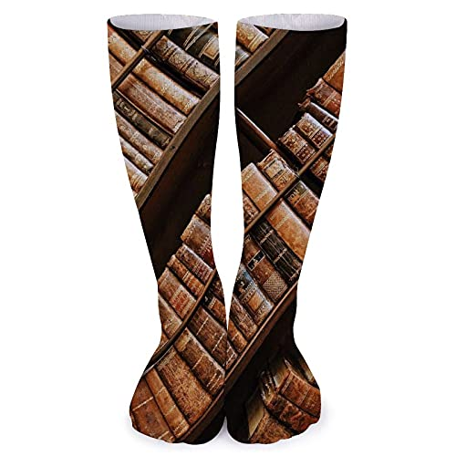 Books Bookshelf Classic Collection Encyclopedia Women Comfortable Knee High Tube Socks 15.7'' Men Casual Compression Crew Socks Athletic Long Stockings for Flight, Fitness, Work, Soccer, Party