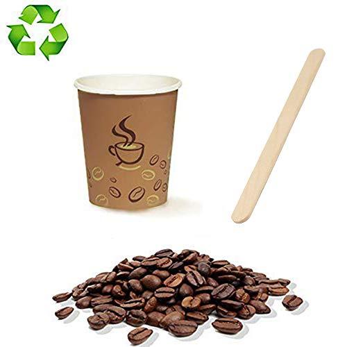 Palucart 500 glazen van papier voor koffie 90 ml kleur Avana Grafica TAZZINA Chicco koffiebruin (3 oz) biologisch afbreekbaar voor dranken, calde cappuccino café + 500 pallet van berk
