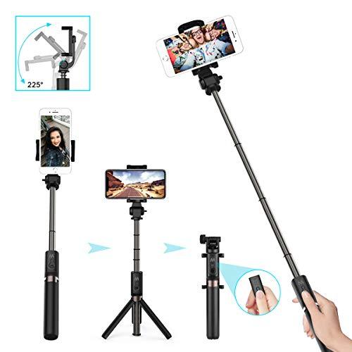 LATEC Bluetooth Selfie Stick Stativ, 3 in 1 Erweiterbar Monopod Wireless Selfie-Stange Stab 360°Rotation mit Bluetooth-Fernauslöse für iPhone XS/XR/X/8 Plus/8/Samsung Galaxy bis 3, 5-6 Zoll Handye