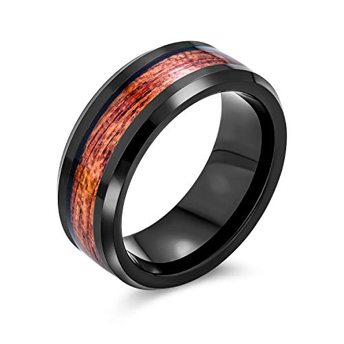 Bling Jewelry Koa Madera Inlay Negro Titanio Anillos de Boda para Hombres para Las Mujeres Comodidad Ajuste 8MM