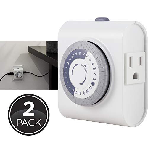GE 24-Hour Heavy Duty Indoor Plug-in Mechanical Timer 2 Pack, 30 Minute Intervals, Daily On/Off Cycle, for Lamps, Seasonal Lighting, Holiday Decorations, 46211, Grounded 2-Outlet | Gray/White