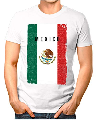 OM3® - Mexico-Flag-Vintage - Herren T-Shirt | Mexiko Flagge Fussball Soccer Fanshirt Sport Trikot | Weiß XL