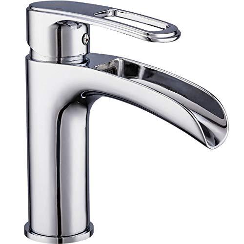 Frap Wasserfall Waschtischarmatur Wasserhahn Bad Badarmatur Waschbeckenarmatur Einhebelmischer für Badezimmer, Chrom, MEHRWEG