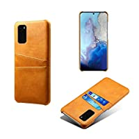Csddg サムスンギャラクシーS20プラスウルトラS20 + S8 S9S10カードスロット用ケースサムスンS20ウルトラS20プラス用PUレザー+ PC電話ケース-Case-Orange-For S10