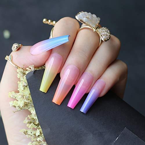 Umillars 24pcs Super Long Rainbow Fake Nails Gradient Color Coffin Glossy Press on Nails Ballerina Colorful Acrylic False Nails Art Salon Faux Ongles Fingers Nails(Coffin-rainbow)