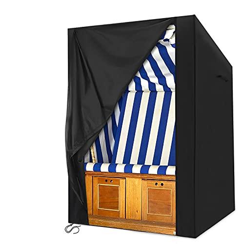 king do way Strandkorb Schutzhülle, 600D Oxford Strandkorbhülle Wasserdicht, Winterfest Winddicht UV-Beständiges, Abdeckhaube für Strandkorb mit Reißverschluss 135x105x175/140cm, schwarz