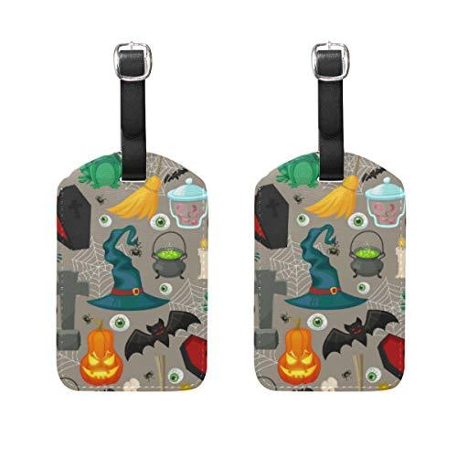 Kofferanhänger für Gepäck Koffer 2 STÜCKE Terror Halloween Hexenhut Kürbis Augapfel Muster Leder Reisetasche Adressetiketten