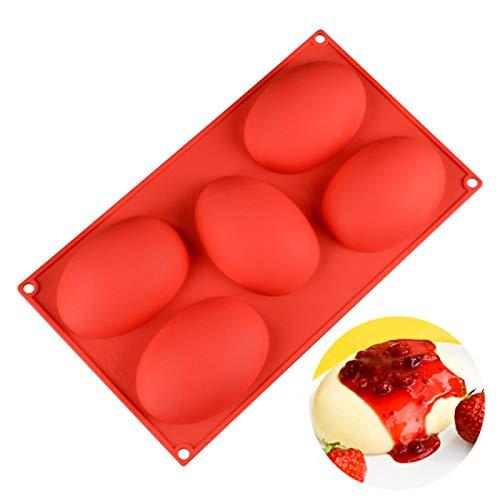 Molde De Chocolate Para Huevos De Pascua, Molde De Silicona, Molde Grande De Silicona Con Forma De Huevo De 5 Cavidades, Molde Para Hornear Para Hacer Mousse De Gelatina (30 * 17,5 Cm)