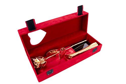 Geschenkbox Echte vergoldete Rose mit Goldener Vase in roter Samt-Box mit Sichtfenster