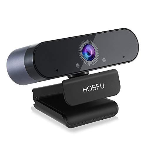 Webcam 1080P mit Mikrofon Full HD Webcam PC Laptop Desktop USB 2.0 für Videoanrufe, Studieren, Konferenzen, Aufzeichnen, Spielen mit drehbarem Clip (Black)