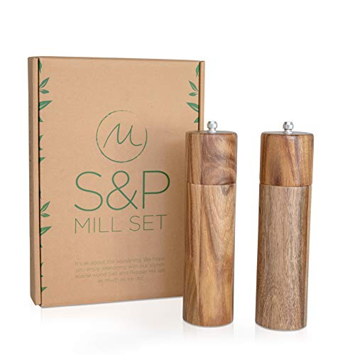 Wooden Salt and Pepper Grinder Set, Manual, Acacia Wood, 8' - Elegant Salt Grinder and Pepper...