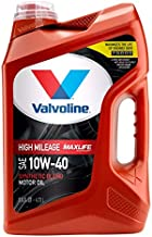 Valvoline High Mileage with MaxLife Technology SAE 10W-40 Synthetic Blend Motor Oil, Easy Pour 5 Quart