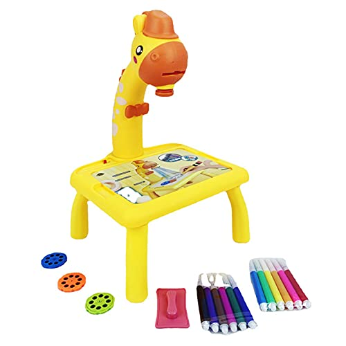 Projector Painting Set for Kids, Projection Drawing Desk,Projection Drawing Board, Doddle Drawing Desk,Projection Drawing Board, Kids Projector Table Toys Giraffe Design for 3+School Yellow