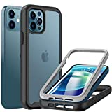 BESINPO Compatible con iPhone 12 iPhone 12 PRO Cover 6.1pollici, 360 Gradi Custodia con Pellicola Protettiva Integrata Rugged Antiurto Cover per iPhone 12 iPhone 12 PRO 6.1' - Nero/Trasparente