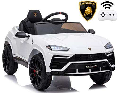 Rock Wheels Licensed Lamborghini Urus Ride On Truck Car Toy, 12V Battery Powered Electric 4 Wheels Kids Toys w/ Parent Remote Control, Foot Pedal, Music, Aux, LED Headlights, 2 Speeds (White)