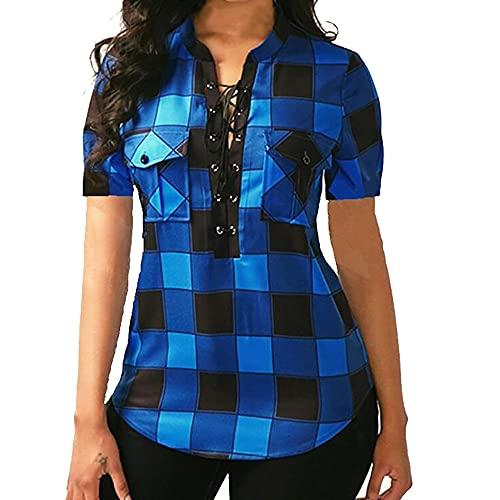 N\P Blusa a cuadros para mujer, blusa de manga corta causal, cuello en V, bolsillos sexy para vendaje señora