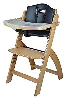 Abiie Beyond Wooden High Chair with Tray. The Perfect Seating Highchair Solution for Your Child As Toddler's or a Dining Chair (6 Months up to 250 Lb). (Natural Wood - Black Cushion)