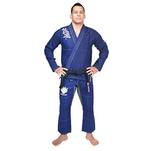 SHOGUN Fight Jiu Jitsu Gi Ultra Light 'Kanji' 350gsm Pearl Weave Cotton Premium BJJ Blue and Silver A3