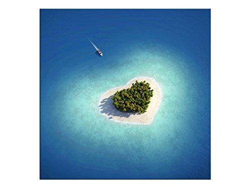 kunst-discounter WTD A05384 - Stampa su tela con immagine di isola di Paradiso a forma di cuore, isola Caraibi, dimensioni: 60 x 60 cm