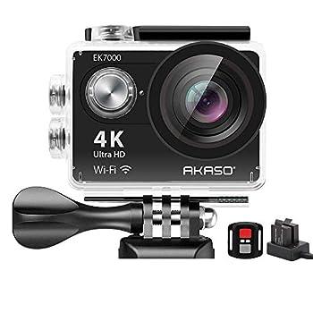 AKASO EK7000 4K WiFi Sports Action Camera Ultra HD Waterproof DV Camcorder 12MP 170 Degree Wide Angle  Renewed