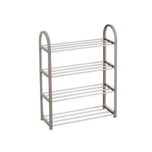 Hogar y Mas Mueble Zapatero 4 baldas de PVC/Aluminio Gris Dormitorio