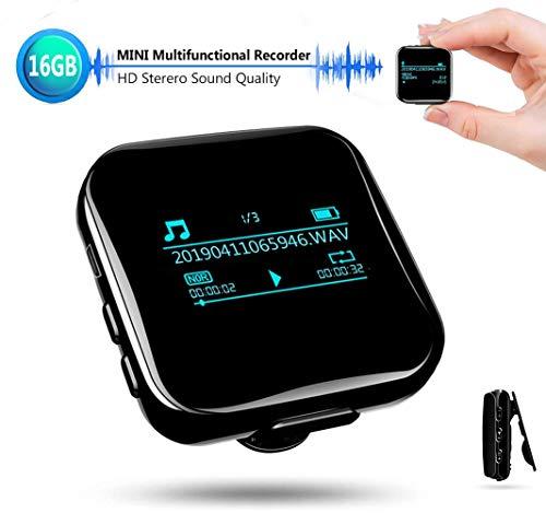 Mini Diktiergerät Recorder, Stimmenaktivierung 16GB Aufnahmegerät für Interviews Treffen Sport, Voice Recorder mit HD Stimme 1536kbps, 1160 Stunden Aufnahmekapazität, Bluetooth, USB-Anschluss, OTG