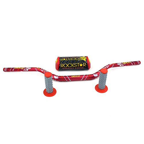 JFG RACING Red Motorcycle 1 1/8' 28mm Handlebar Fat Handle Bar Pad Grips Set For For Honda CR125 CR250 CR500 CRF250 CRF450 CFR250R CFR450R CFR450X CFR250X XR250