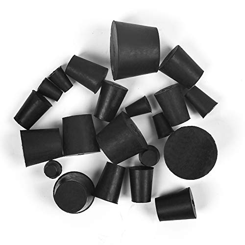 21 Pack Solid Rubber Stopper, Black Lab Plug, 000# - 8# Sizes Assortment, 11 Assorted Sizes
