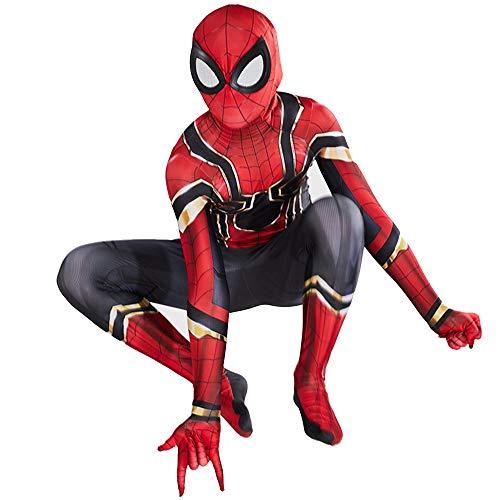 ZXDFG Costume Spiderman Homecoming,Costume Spiderman Bambino Supereroe Halloween Carnival Cosplay Maschera 3D Stampa Spiderman Costumi,Spandex Lycra