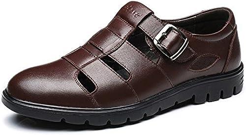 CHENDX Schuhe, Herren Classic Echtes Rindsleder Oberschuhe Atmungsaktiv Schneiden Slip-on Weißhe Sohle Loafer (Farbe   Braun, Größe   46 EU)