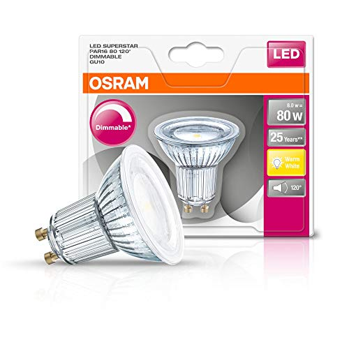 Osram LED SuperStar PAR16 Reflektorlampe, mit GU10-Sockel, dimmbar, Ersetzt 80 Watt, 120° Ausstrahlungswinkel, Warmweiß - 2700 Kelvin, 1er-Pack