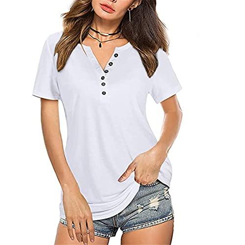 MQYXGS Top Moda Donna Maglietta da Donna con Scollo a V Bottoni Maglie a Maniche Corte Magliette da Donna Camicetta Casual Maglietta Ampia Manica Lunga Corta da Donna Bottoni con Scollo a V Magliette