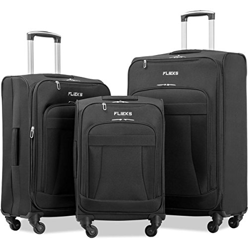Merax Flieks 3 Piece Luggage Set Expandable Spinner Suitcase, Black Color
