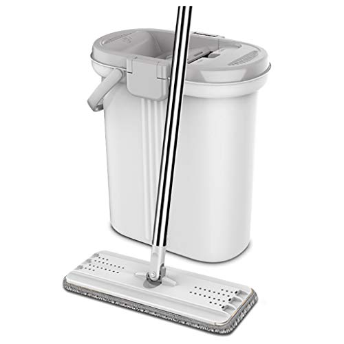 YJJY vloerwisser mop en emmer set met 2-kamersysteem en uitwringmechanisme 360° draaibaar, reiniging van uw huis, kantoor, keukenhouten vloer, tegels