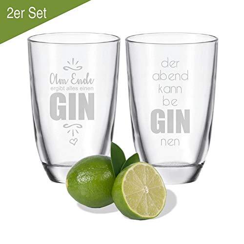 4youDesign 2er Set Gin-Gläser der Abend kann be Gin NEN & Am Ende ergibt Alles einen Gin - Geschenkidee - für Gute Freunde - für Partner