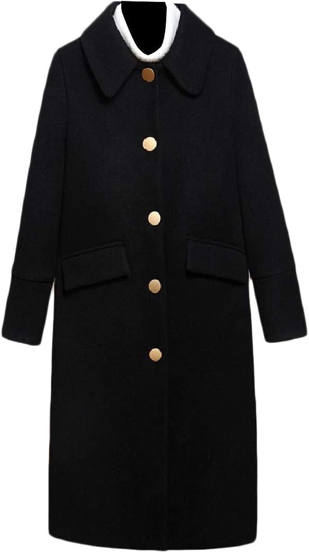 Doanpa Women Fit Plus Size Buttonup Trench Woolen Casual Pea Coat Jacket