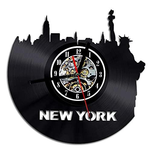 Reloj de Pared con Horizonte de Nueva York,decoración de Pared de Paisaje Urbano de EE. UU.,Reloj de Pared con Registro de Vinilo,Puente de Brooklyn,Manhattan,decoración de Nueva York,Regalo-NO_LED