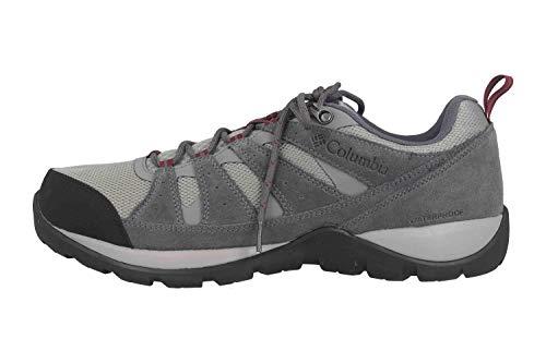 Columbia Redmond V2, Zapatos de Senderismo Impermeables para Hombre, Gris, Rojo (Monument, Red Jasper), 43 EU