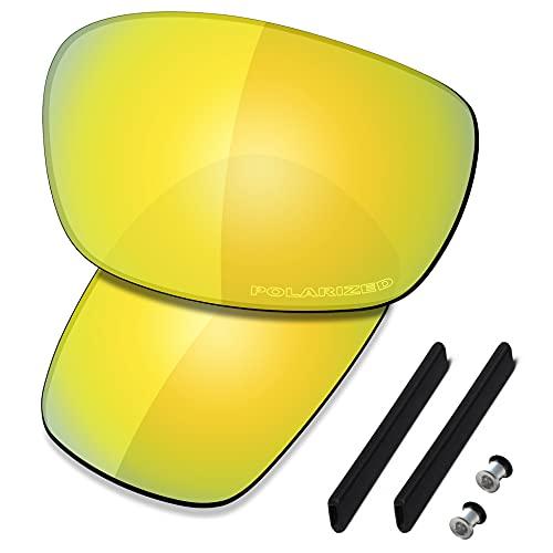 Saucer Premium Ersatzgläser & Gummi-Kits für Oakley Jawbone Racing Jacket, (High Definition - 24k Gold Polarized), Einheitsgröße