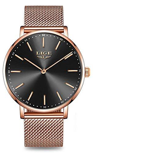 LIGE Damen Uhr Analog Quarz mit Edelstahl Armband 9895