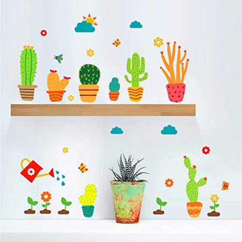 SHQBZPYS 3D DIY wandklever cactus bloempot sticker voor woonkamer huis DIY afneembare poster