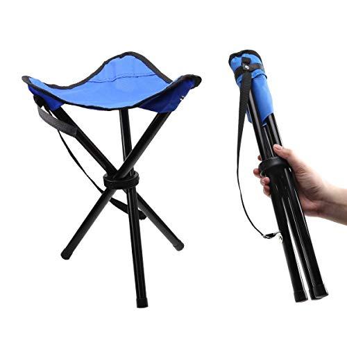 Camonti Kleiner Klappbarer Camping Hocker Stühle, Tragbarer Hocker Leichte Stativ Stuhl Sitz Angeln Hocker für Outdoor Travel Wandern Strand Garten BBQ (Blau)